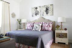 Tracery Interiors: Beachy, coastal bedroom design with camel headboard, Kelly Wearstler Bengal Bazaar ...