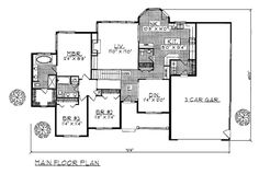 First Floor Plan of Ranch   Traditional   House Plan 99105