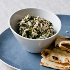 Spicy Spinach Dip with Pine Nuts | You can also use this dip as a condiment for curries, steaks or roast chicken.