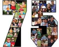 Cute and easy number 75 photo collage is a great wall decoration for a birthday party! 75th Birthday Decorations, 75th Birthday Parties, Fifty Birthday, Anniversary Decorations, Adult Birthday Party, 60th Birthday Party, 50th Anniversary, 75 Birthday Party Ideas, 50 Party