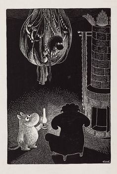 Moomin uses a lantern to see in the dark - by Tove Jansson Tove Jansson, Moomin Books, Children's Book Illustration, Totoro, Painting & Drawing, Drawing Room, Collages, Fairy Tales, Sketches
