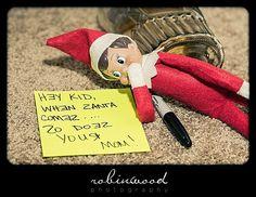 drunken elf on the shelf ideas   Drunk Elf Writes a Note   Elfward, the Elf on the ShelfElfward, the ...