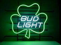 Bud Light Green Shamrock Classic Neon Light Sign 17 x 14