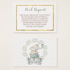 Boy Elephant Baby Shower Book Request Business Card - baby gifts child new born gift idea diy cyo special unique design