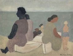 Artwork by Milton Avery, Sitters by the Sea, Made of oil on canvas