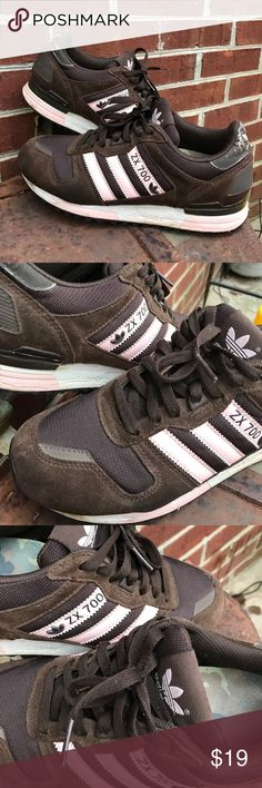 Adidas ZX 700 Adidas ZX 700. Pink and Chocolate. These are a Reposh. Great Condition except for a bit of peeling on back label. See last pic. Price reflects this defect. Love them, Super Comfy. Just have a bit of an athletic shoe vice! Adidas Shoes Athletic Shoes