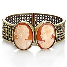 Amedeo NYC® Double Cornelian Cameo Basketweave Hinged Bangle Bracelet