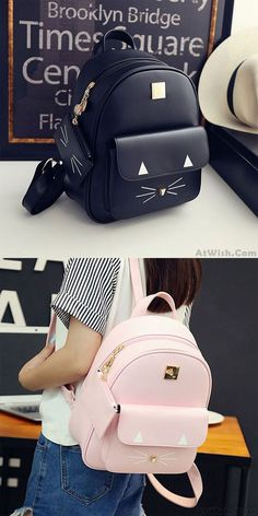 Cartoon Cat Rucksack Cute Kitten Solid Schoolbag Student Backpack for big sale! Source by de moda juveniles chicas Cute Girl Backpacks, Stylish Backpacks, Kids Backpacks, Leather Backpacks, Leather Bags, Lace Backpack, Mini Backpack, Travel Backpack, Kawaii Bags