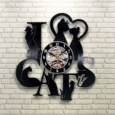 #1 I Love Cats Vinyl Record Wall Clock