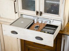 DIY Charging Station Project... Such a brilliant way to cut down on countertop clutter!