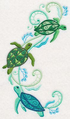 Turtles and Seagreens Spray design (M4602) from www.Emblibrary.com