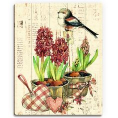 "Click Wall Art 'Bird and Garden Flowers Warm' Graphic Art on Wood Size: 20"" H x 16"" W x 1"" D"