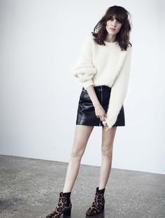 Alexa Chung for mytheresa.com gallery Acne Studios angora pullover + Saint Laurent leather skirt <3 <3