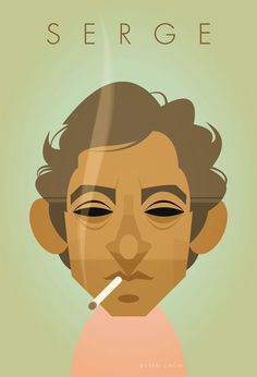 Caricature of Monsieur Serge Gainsbourg by Stanley Chow Serge Gainsbourg, Illustrations Pop, Illustration Art, Vector Portrait, Portrait Art, Portraits, Graffiti, Stanley Chow, The Stanley