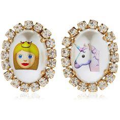 Bijoux De Famille Women Emoji Princess & Unicorn Earrings (10,770 INR) ❤ liked on Polyvore featuring jewelry, earrings, multicolor, multicolor earrings, colorful jewelry, tri color jewelry, clip post earrings and post earrings