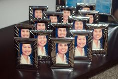 DIY: Moving or leaving a company?? Leave your friends something to remember you by; framed self portraits of yourself!    /Self portrait of yourself.  /Dollar store frames.  /Wallet sized portrait prints - printed at Wal-Mart.