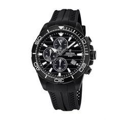Ανδρικό ρολόι FESTINA F20369/1 με χρονογράφο, 24ωρη ένδειξη, ημερομηνία, μαύρο καντράν με μαύρο λουρί από σιλικόνη | ΤΣΑΛΔΑΡΗΣ στο Χαλάνδρι #Festina #μαυρο #λουρι #ρολοι Casio Watch, Chronograph, Watches, Accessories, Fashion, Moda, Fashion Styles, Clocks, Clock