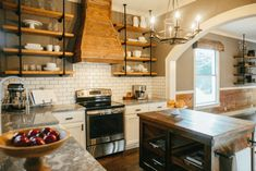 """Love the colors and materials used all throughout this house. Wall color throughout the house is Sherwin Williams """"Dovetail"""". Rustic transitional.  """"Super White"""" Granite from Design Superstore.  Magnolia Homes // Fixer Upper"""
