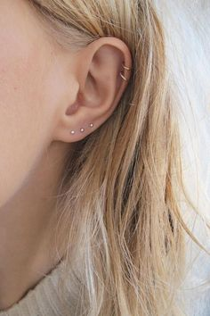 Very Small Studs | Small Silver Studs | Third Piercing Earring | Dot Stud | Tiny Studs | Gold Small Studs | Tiny Gold Studs These tiny studs are perfect for ears that have more than one piercing as theyre small enough to look delicate going up the ear. They are made from either #earpiercings #piercings