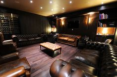 A gentleman's meeting room, not a cave.  Discussion of politics, money,  stocks, vacations, land ownership, corporate takeovers, smoking a cigar,  have a single malt scotch kinda room.