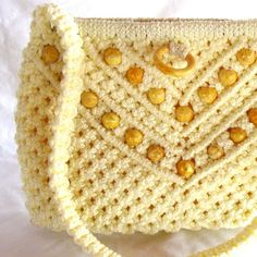 Vintage Bag Yellow Macrame Tote Bag by EBFinds on Etsy, $29.99