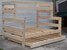 Custom made solid pine bunk beds. Beds are made out of 2x6 lumber so they are very solid. All pieces are sanded smooth so no rough or sharp edges. Beds are ready to be stained or clear coat applied...