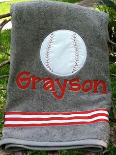 Personalized Baseball Beach Towel by ModernMonograms on Etsy, $25.00 course tucker needs this