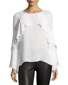 Ruffled-Trim Long-Sleeve Top