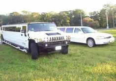 The white stretch Lincoln and Hummer limos