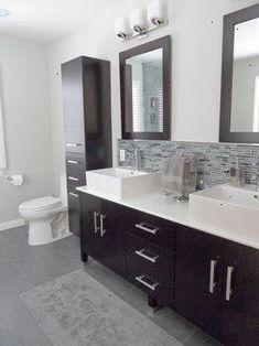 Modern Bathroom, Sherman Oaks, CA - modern - bathroom - los angeles - Fidelity General Contractors Inc. Grey Bathroom Tiles, Bathroom Tile Designs, Bathroom Renos, Grey Bathrooms, Modern Bathroom Design, Bathroom Interior Design, Small Bathroom, Mirror Bathroom, Bathroom Remodeling
