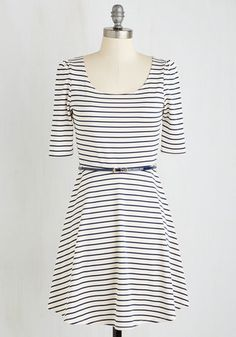 Colorful Confidence Dress in White - Stripes, Print, Casual, Nautical, Americana, A-line, 3/4 Sleeve, Knit, Good, Multi, White, Short, Variation