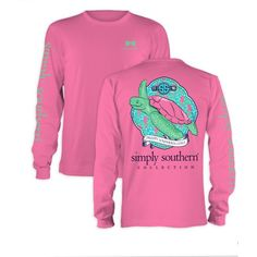 Simply Southern Bubblegum Pink Preppy Turtle Long Sleeve Tshirt ($24) ❤ liked on Polyvore featuring tops, t-shirts, light pink, women's clothing, light pink t shirt, turtle tee, long sleeve t shirts, preppy t shirts and longsleeve t shirts
