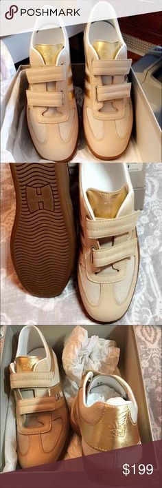 Hogan athletic shoes BNWT and original box size 37 womans Hogan Campus Double Strap athletic shoe. Sand, beige, and gold colors. Brilliant Canvas and Leather material. Never been worn, light weight, super comfy and stylish walking sneakers/ shoes. Can add a touch of glam to any pair of jeans or athletic outfit. Fits like a size 7. Original price around $400 with tax. Bought as a gift and did not fit, thus why theyve never been worn. Hogan Shoes Athletic Shoes