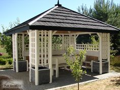 "Garden Wooden Gazebo ""White Pagoda"".....between the buildings?"