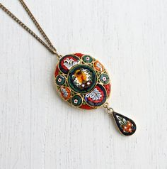 Vintage Micro Mosaic Necklace - Italian Glass Gold Tone Floral Italy Costume Jewelry / Colorful Tiles by Maejean Vintage on Etsy, $42.00