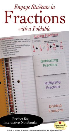 Do your students need to review or learn operations with Fractions? ★ Let them gain understanding of adding, subtracting, multiplying, & dividing fractions with this excellent simple foldable that offers 2 OPTIONS.