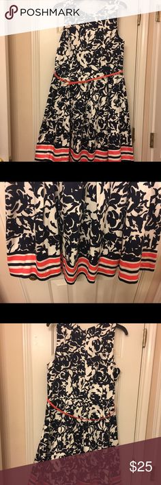 Brand New with Tags Fit and Flare Dress Navy and white Damask Fit and Flare with Coral and navy stripes on Bottom!!! Liz Claiborne Dresses Midi