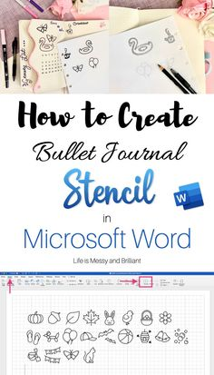 Tutorial to learn how to make bullet journal Stencil in Microsoft Word - bujo stencils #bulletjournal #bujo Making A Bullet Journal, Bullet Journal Contents, Bullet Journal Stencils, Bullet Journal For Beginners, Bullet Journal Font, Bullet Journal Junkies, Bullet Journal Student, Journal Fonts, Bullet Journal Printables