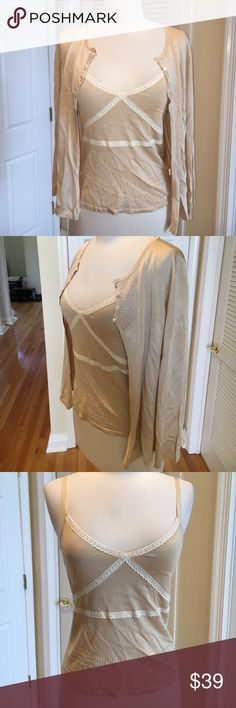 The Limited Silk cardigan cami set 😍Absolutely beautiful and in excellent condition. Delicate silk set with clear beading and lace! The Limited Tops Camisoles