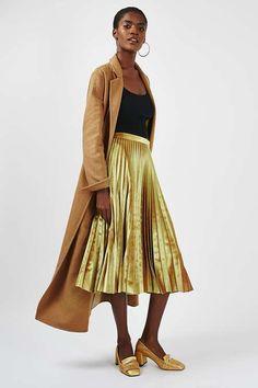 PETITE Velvet Pleat Midi Skirt - Topshop Europe