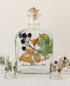 Vintage Holmegaard Decanter and Shot Glasses Bramble Blackberry Crystal Shot Glasses, Corner Bar, Crystal Decanter, Cork Stoppers, Bramble, Blackberry, Crystals, Antiques, How To Make