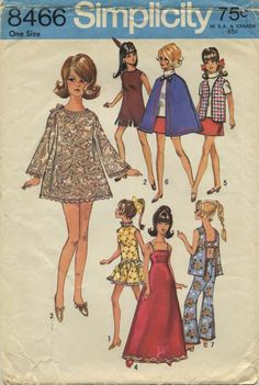 "Vintage Barbie™ Doll Clothes Sewing Pattern | Wardrobe suitable for 11½"" doll such as Barbie or Maddie Mod™* 