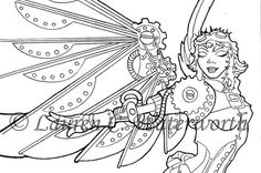 INSTANT DOWNLOAD Adult Colouring Page Icarus By LCWaterworth Steampunk Angel Colouringbook