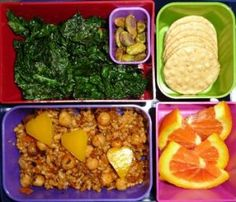 Brown Rice Pilaf with Chickpeas, Sauteed Kale, Rice Crackers, Pistachios, Orange Slices