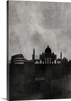 """Black and White Minimalist Rome Skyline"" by Kate Lillyson via @greatbigcanvas at GreatBIGCanvas.com."