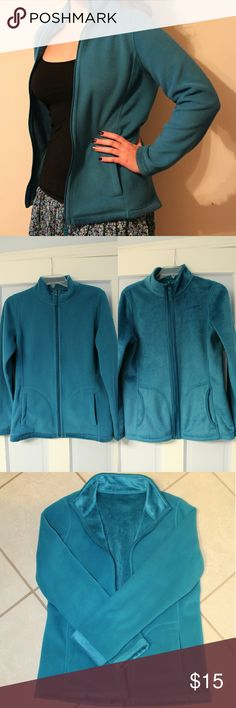 Aqua Blue Reversible Jacket Blue reversible jacket. One side is fleecy, one side is furry. There is no tag stating the size, but it fits about a medium. Skirt seen in the first picture is also listed in my closet! Style & Co Jackets & Coats