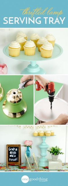How To Make A Beautiful Serving Tray From A Thrift Store Lamp