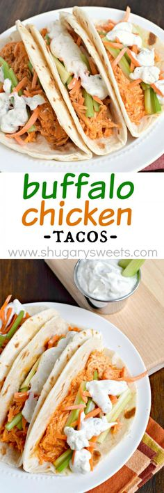 These delicious Buffalo Chicken Tacos are a cinch to put together! Cook up some shredded chicken in your slow cooker tonight, then whip up some of my homemade blue cheese dressing! A fun twist on a game day classic!