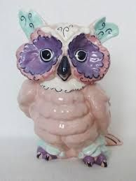 """8 1/2"""" Kay Finch 187 Hoot owl figurine pink purple turquoise 1944 The Glass Menagerie, Fenton Glassware, Ceramic Art, Pink Purple, Owl, Turquoise, Ceramics, Antiques, Fictional Characters"""