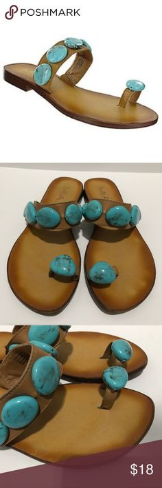 Mia Cynthia Turquoise Stone Sandal. Size 6-1/2M Tan footbed with top & toe straps embellished with turquoise stones. Elastic on the top strap for a better fit. Gently worn and great condition- no box Mia Shoes Sandals